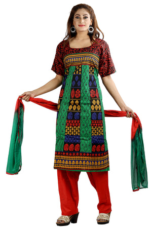 Load image into Gallery viewer, Red Cotton  Salwar kameez Dress Plus Size 54