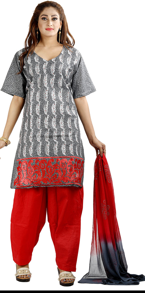 Gray Embroidered Cotton Salwar kameez chest size 44