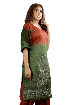 Tie Dye Silk Hand Embroidered  Salwar kameez Dress Plus Size 56