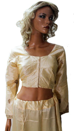 Gold Beaded Bollywood Designer Saree  Blouse Choli Top Full Sleeves