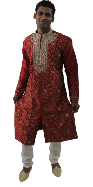 Designer Burgundy Men's Sherwani with Matching Shawl | Ethnic Burgundy Men's Sherwani
