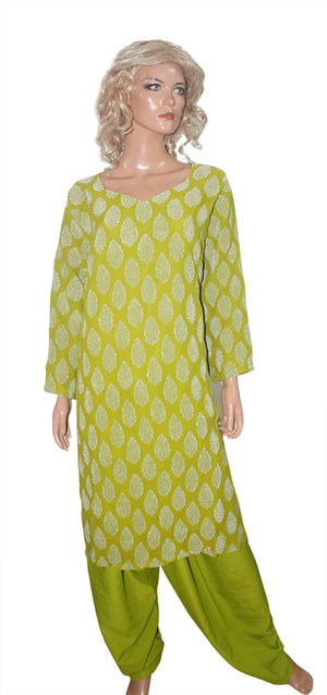 Load image into Gallery viewer, Green Designer party wear Formal Salwar kameez Dress Plus Size 52