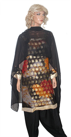 Load image into Gallery viewer, Black Indian Wedding party wear Formal Salwar kameez Dress Plus Size 54
