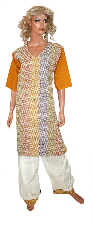 Brown Cotton  salwar kameez  Plus size 48