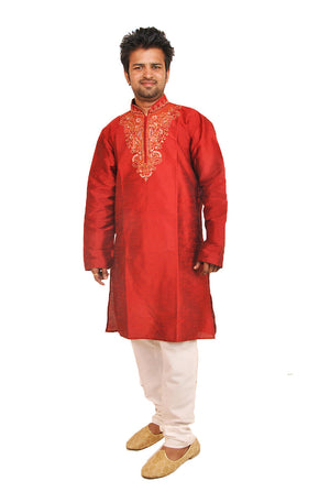Load image into Gallery viewer, Exclusive Red Men's Kurta Salwar with Matching Beads Shawl | Ethnic Red Men's Kurta Salwar