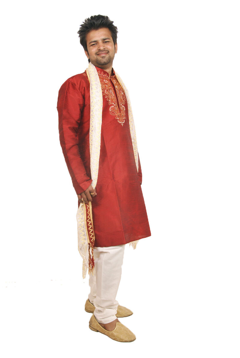 Red Exclusive Formal Silk Mens Kurta Salwar With Matching Embroidery Beads Shawl