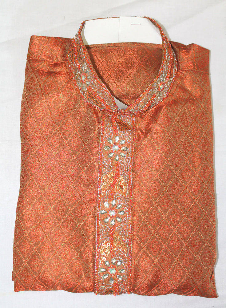 Load image into Gallery viewer, Orange Hand  Beaded  Indian  Boys Kurta pajama Set For Age 13,14,