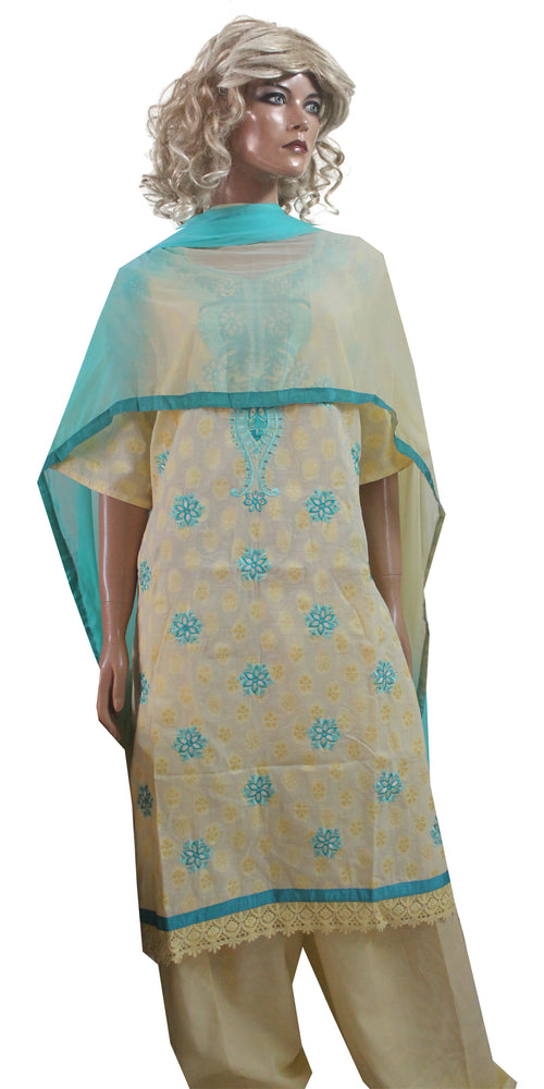 Yellow Cotton Embroidered  Salwar Kameez plus size 56 Fast shipping within 3 day