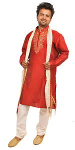 Exclusive Red Men's Kurta Salwar with Matching Beads Shawl | Ethnic Red Men's Kurta Salwar