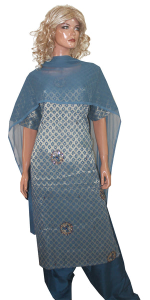 Load image into Gallery viewer, Blue  Wedding party wear Formal Salwar kameez Dress Plus Size 38
