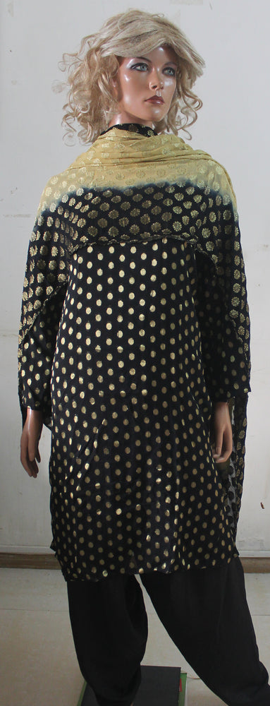 Black Gold Dot Indian Dress Salwar Kameez Chest Plus  size  50