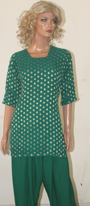 Green  Kurta With Free Trousers & Dupatta Plus Chest size 40