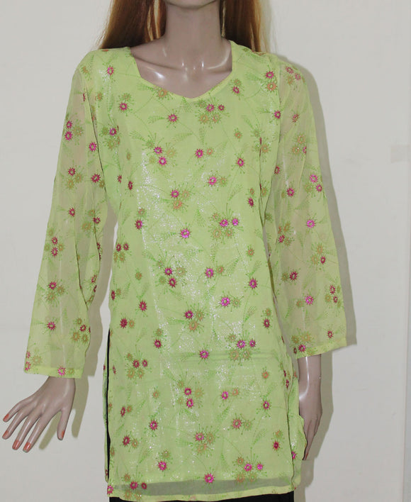 Green Indian Clothing Women Kurta Long Sleeve Top Tunic Dress Soft Crepe
