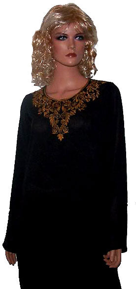 Load image into Gallery viewer, Galore Black and Gold Knee Length Tunic