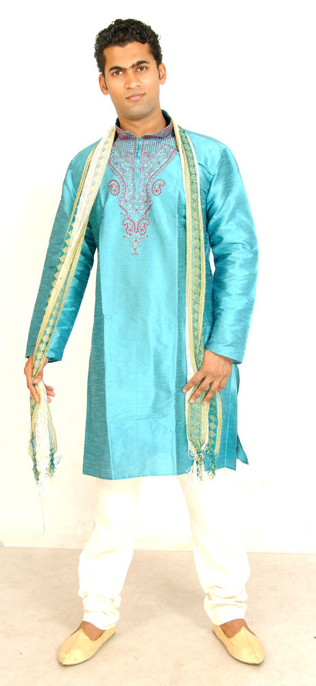 Blue Silk Men Kurta Set Indian wedding Party Formal Wear
