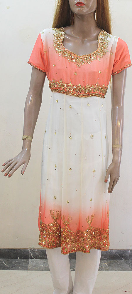 Tone White And Peach Anarkali Churidar