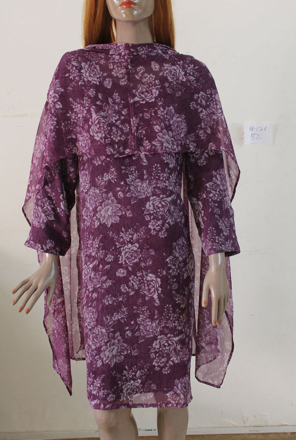 Purple N121 jacquard Indian Clothing Women Kurta Tunic Dress Free Dupatta Plus Size 52