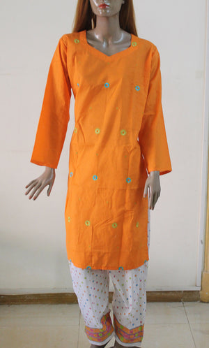 Orange White Cotton Plus Size Salwar Kameez