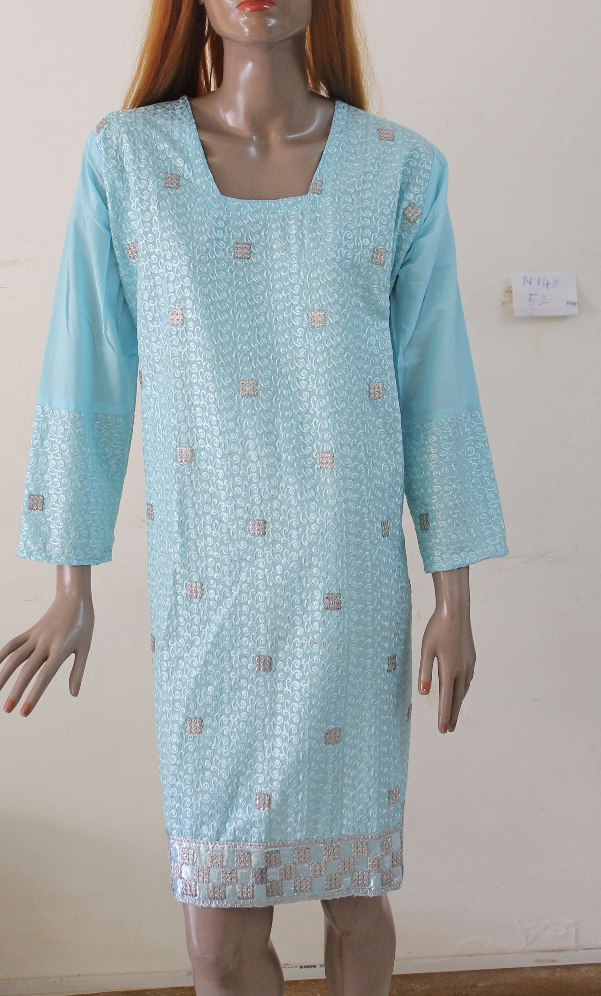 Blue N148 Cotton Indian Clothing Women Kurta Tunic Dress Free Dupatta Plus Size 52