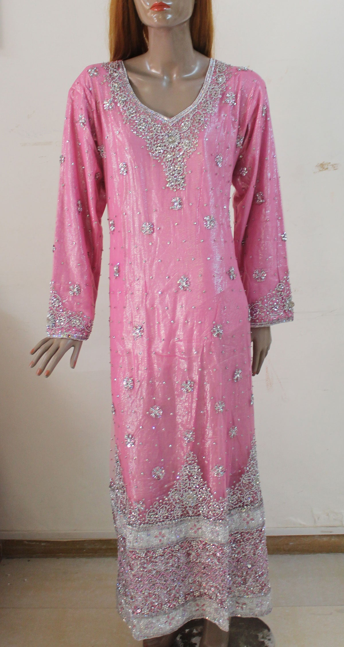 Pink Long Dress Abaya Kaftan Islamic Wear Chest  size 48