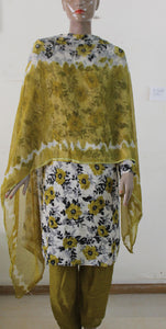 Mustard Printed D219 Plus Size 50 Salwar Kameez Indian Clothing Soft Crepe