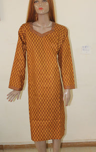 Mustard    N160   Indian Clothing Women kurta tunic Dress Free Dupatta Plus Sz 56