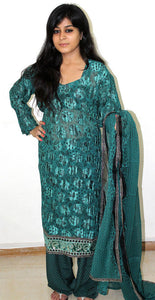 Green Salwar kameez Plus size 50