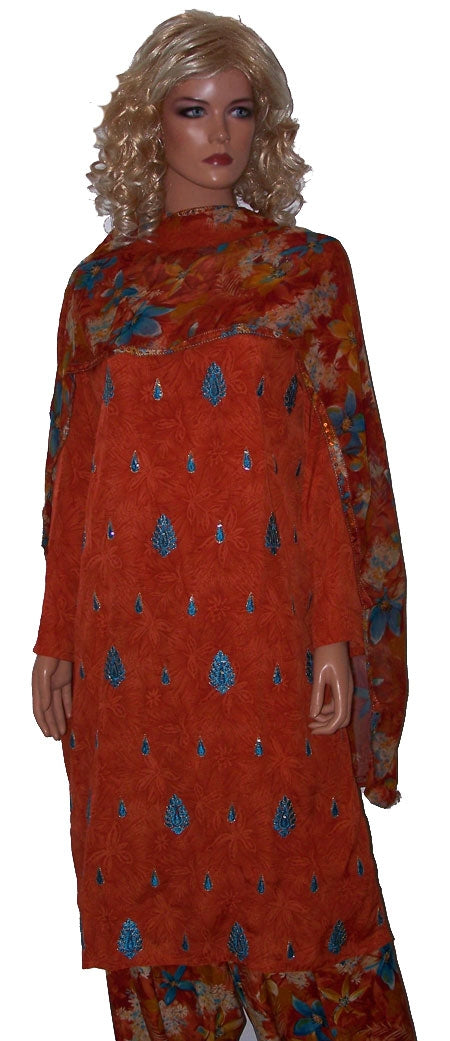Orange Plus Size Salwar Kameez