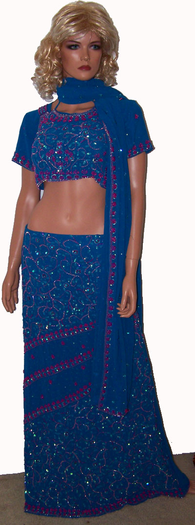 Blue Pink Beads Indian wedding Designer 4pc Lehenga Choli Beads Belly dance Sz 38