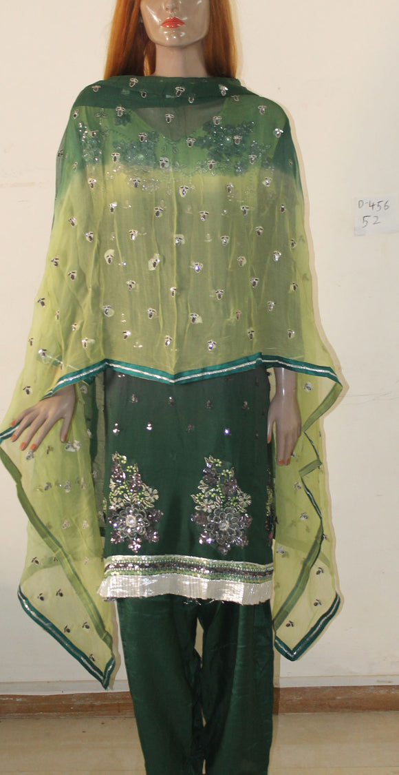 Green Designer Exclusive Anarkali Churidar Indian Party Wedding Wear Plus Size 52