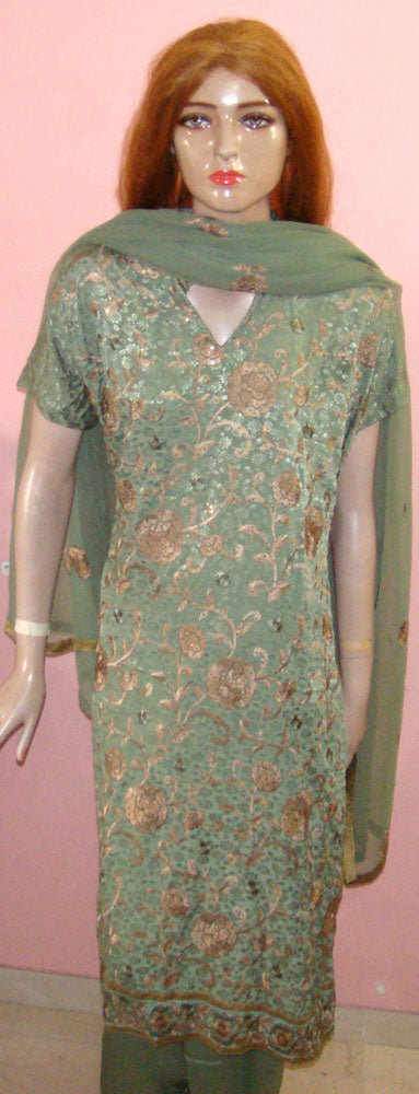 Green Embroidered Salwar Kameez Plus Size New