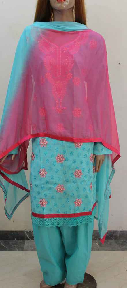 Blue Pink  Embroidered  Cotton Salwar kameez Dress Plus  chest Size 52
