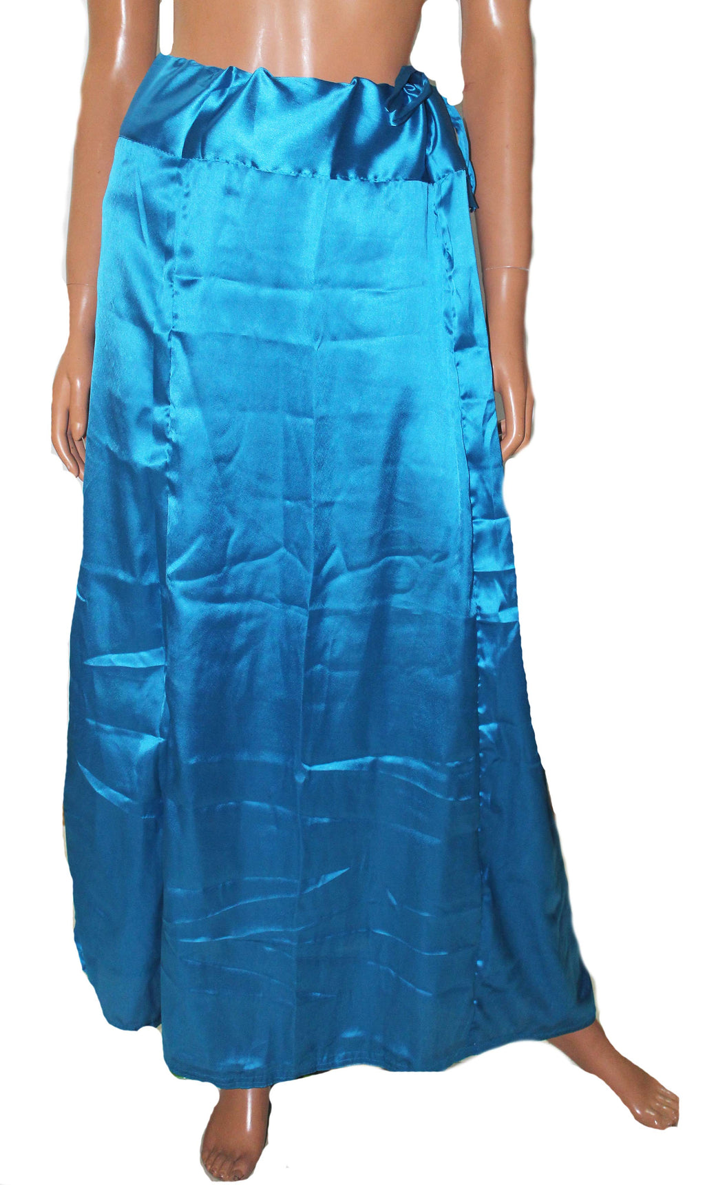 Blue Luxurious soft satin skirt saree Petticoat Underskirt Imported Material