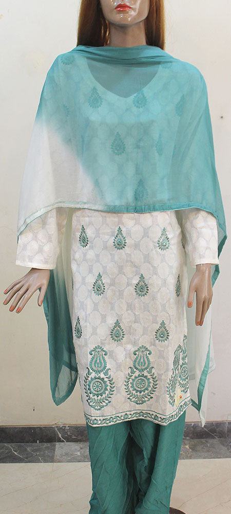 Off White Cotton With Silk Salwar Plus Size Salwar Kameez