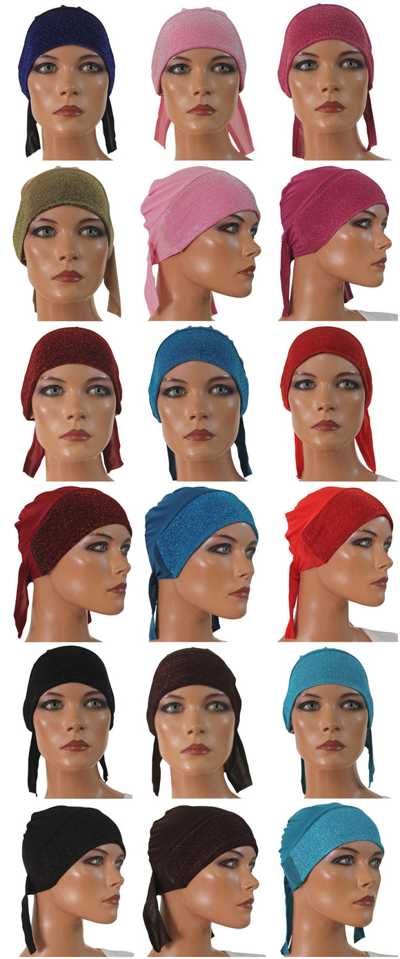 wholesale lot of 12 Sparkle Hijab Caps w/Ties Glamorous Cap