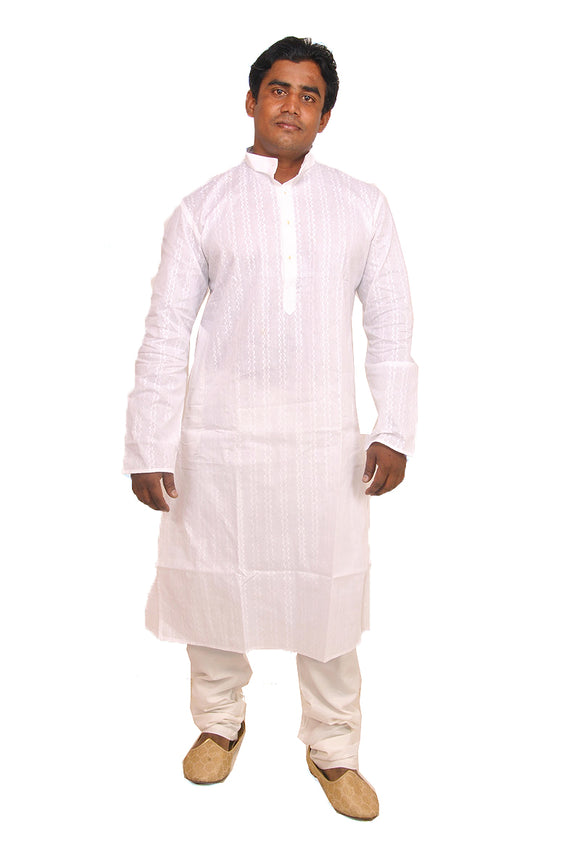 White Mens Cotton Kurta  Payjama Summer Indian Clothing
