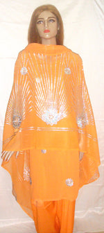 Orange Beaded Salwar Kameez New