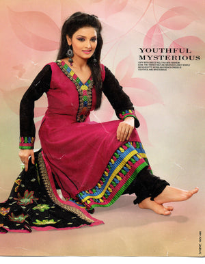 Red Black Designer Youthful Mysterious Plus Size Salwar kameez