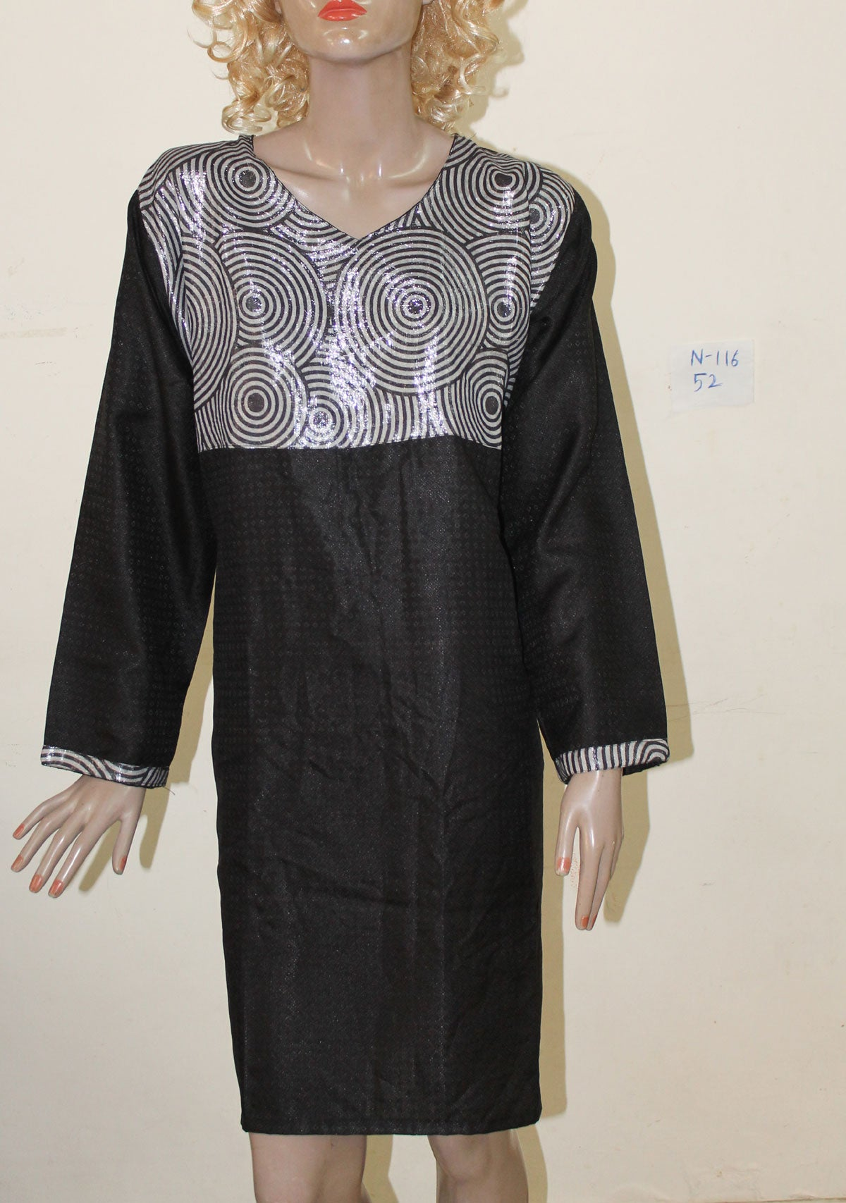 Black N116 Jacquard Indian Clothing Women Kurta Tunic Dress Free Dupatta Plus Size 52