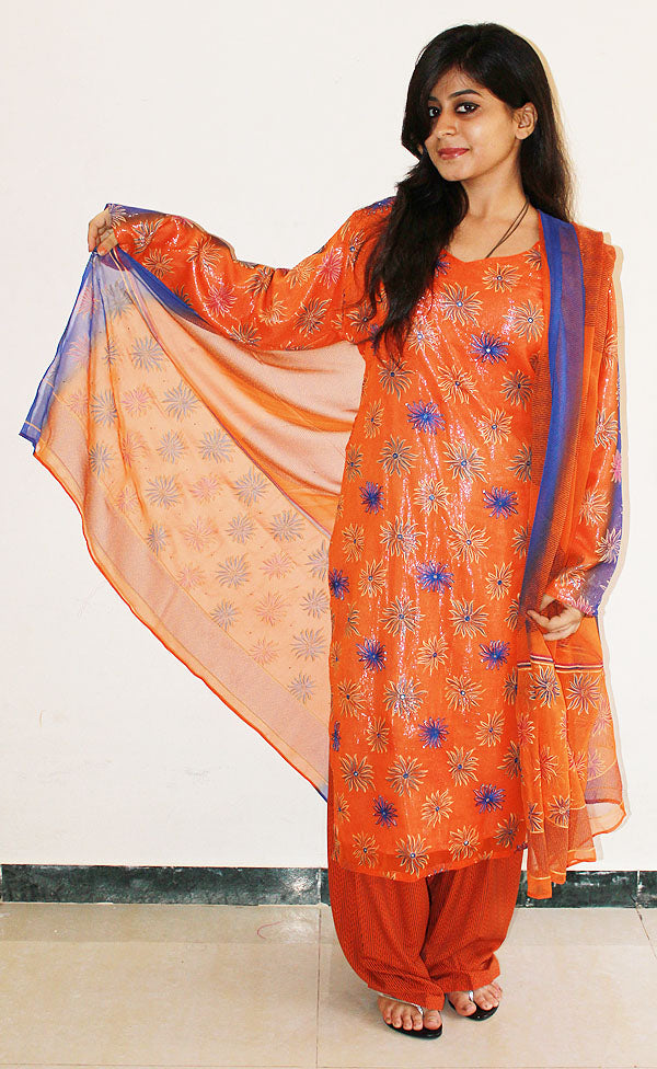 Orange Shimmer Salwar Kameez