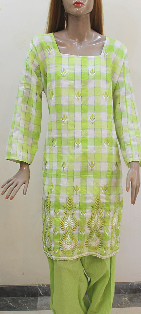 Pista Green Cotton Check Embroidery Plus Size Salwar Kameez