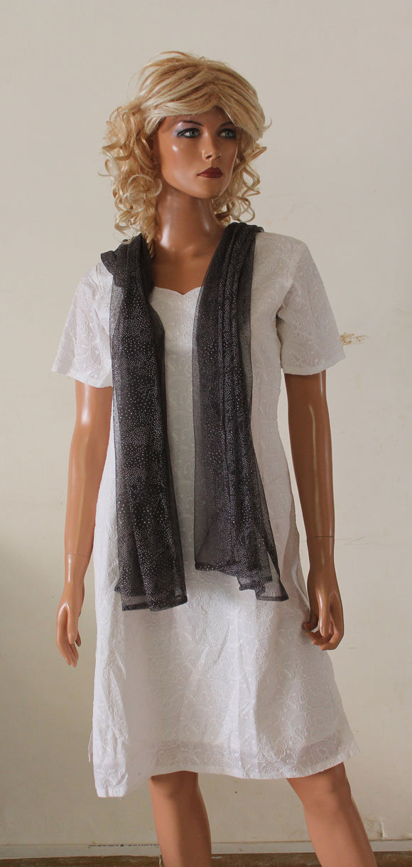 Gray Net Cute Long Shawl Dupatta Designer Long Stole Fashion Street Stole