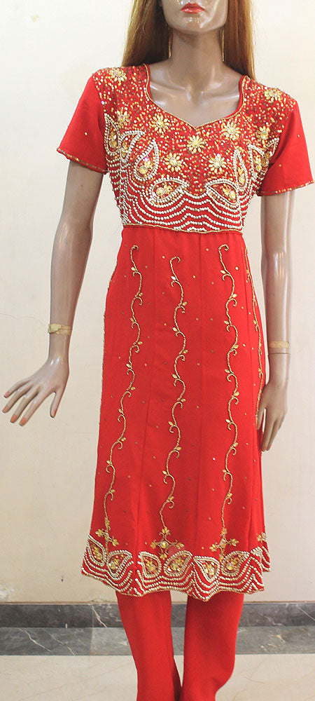 Red Golden Anarkali Churidar