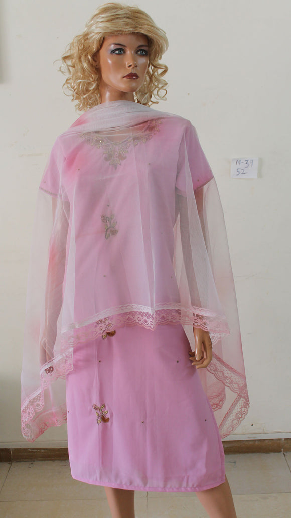 Pink N39 Chiffon Indian Clothing Women Kurta Tunic Dress Free Dupatta Chest Size 52