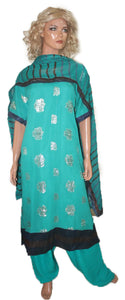 New Blue  Chiffon Silk Designer Wedding party Wear Indian Salwar kameez
