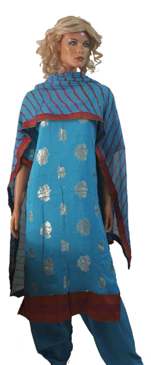Load image into Gallery viewer, Blue Shinny  Indian Wedding party wear Formal Salwar kameez Dress Plus Size 50