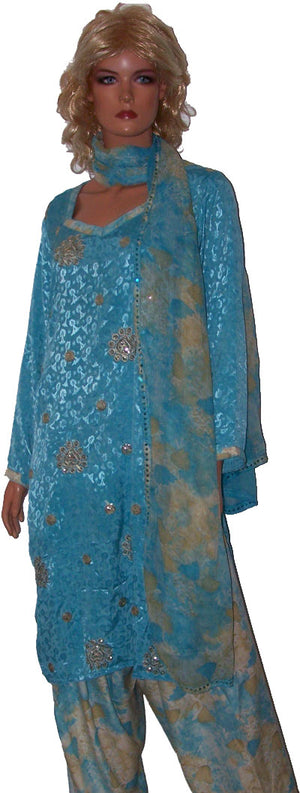 Blue Soft Crepe Salwar Kameez chest  42