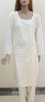Off White Embroidery Plus Size Salwar Kameez