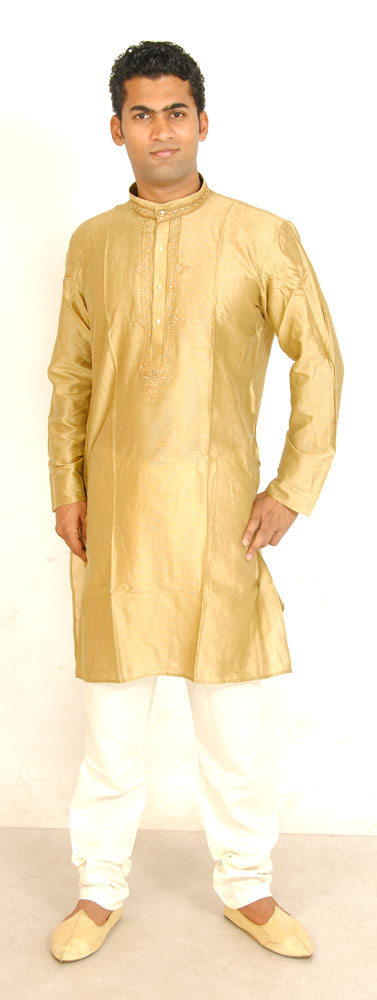 Gold Formal Men Kurta Set