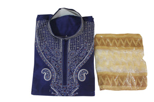 Blue Silk  Men Kurta Set Indian wedding Party  Wear